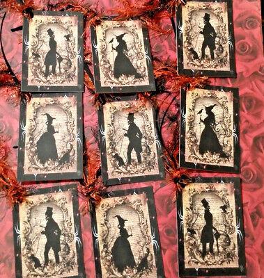 Halloween Spooks~9 Gift Hang Tags~Scrapbooking~Card Craft Making Embellishments  - Make Halloween Gift Tags