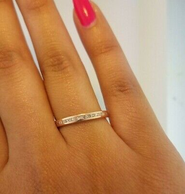 10K Solid Rose Gold Eternity Band Stackable Ring Endless Wedding Band 0.15 CT
