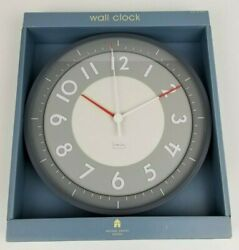 Machael Graves Wall Clock Modern Glass Cover 12'' 1/4 2006 Grey White Red 31.1cm