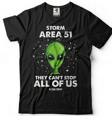 Alien-tee ( Area 51 Alien T-shirt They Cant Stop Us All Funny Storm Area 51 Event Alien Tee)