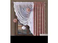 "Set jacquard net curtains colour white powder pink 150cm x 160cm 59""x 63"""