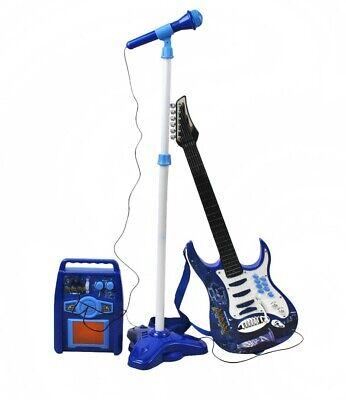 Guitarra Eléctrica+Amplificador+Micrófono con Soporte Azul Jóvenes Pilas 1554
