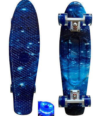 "LMAI 27''/22"" Cruiser Skateboard Graphic Blue Galaxy Starry Board Penny Style"