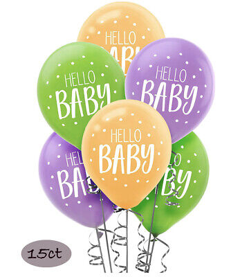 Hello Baby Shower Latex Balloons Party Decoration Supplies ~15ct Fisher - Fisher Price Baby Shower Decorations