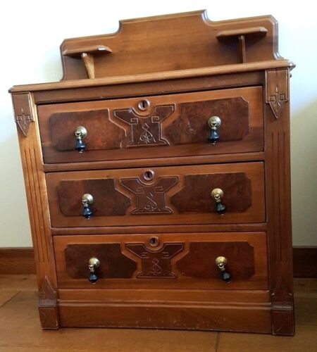 Antique Burl Wood Walnut Washstand with original pulls and knobs