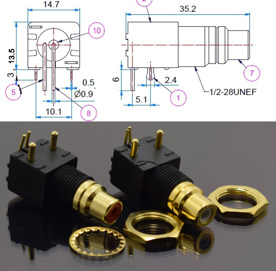 Details about 1pair Gold RCA Jack Pin PCB Socket Audio Video A/V  on