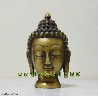 Old Buddhist Fengshui auspicious Carved Buddha head Bronze Lucky Statue