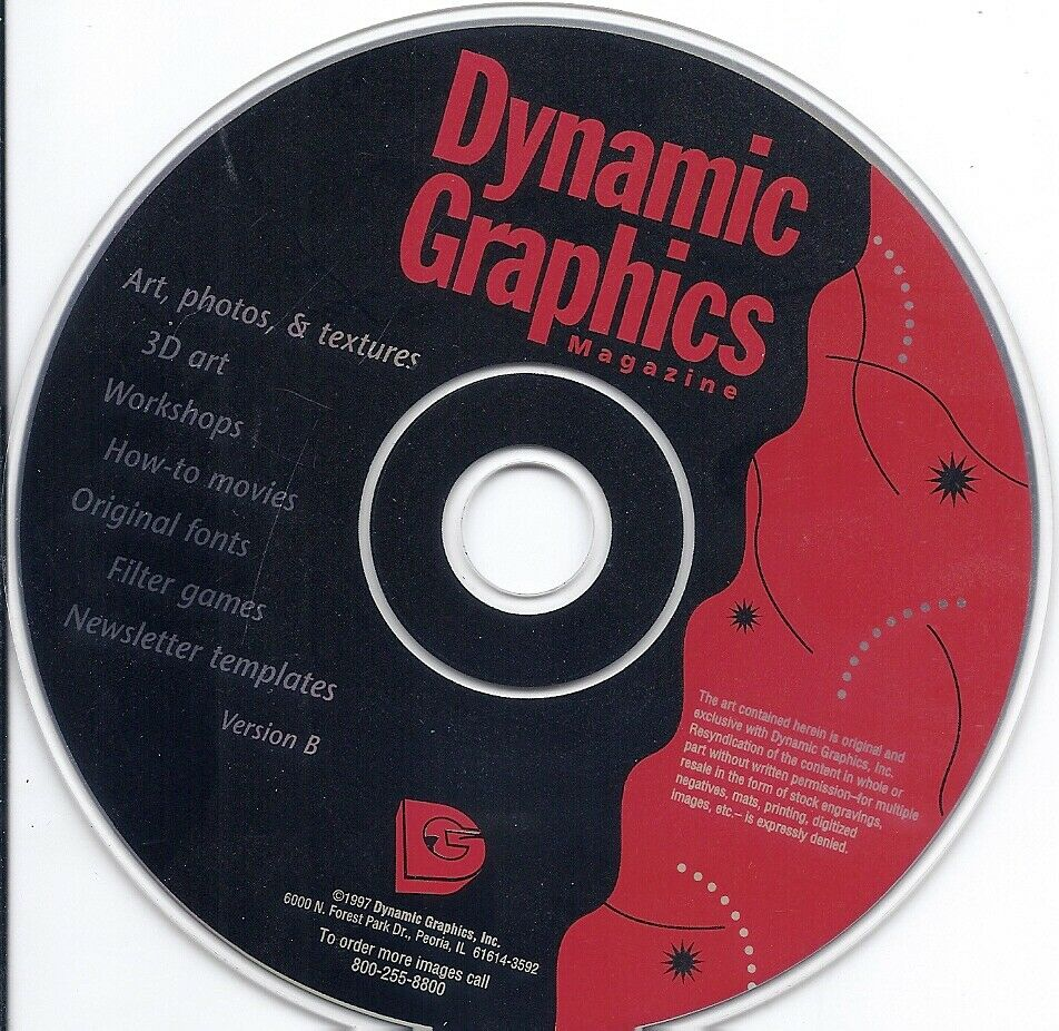 DYNAMIC GRAPHiCS Magazine CD Graphic Art Design, 3D Art Filter Games Templates  - $4.99