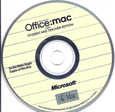 Microsoft Office mac 2004 Student And Teacher Edition CD 3 Product License Key - $4.99
