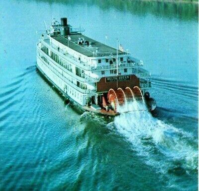 Delta Queen riverboat paddlewheel calliope whistles Ohio river Vintage Postcard