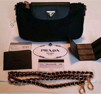 AUTH. PRADA BAG PURSE CLUTCH BT0779 CONVERTIBLE BLACK NYLON SAFFIANO BANDOLEIRA