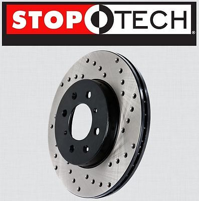 FRONT [LEFT & RIGHT] Stoptech SportStop Cross Drilled Brake Rotors STCDF62042 - Gmc K3500 Cross