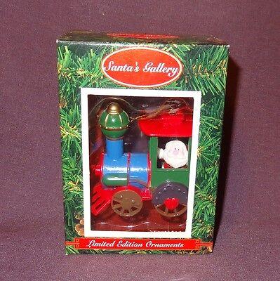 Santa Claus Train Engine Christmas Ornament in Box Santa's Gallery Red Blue