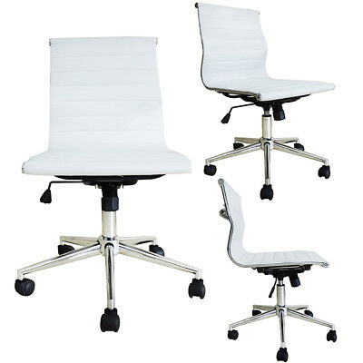 Modern Executive Office Chair Mid Back Ribbed Pu Leather Armless Desk Chair