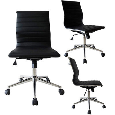 Modern Executive Office Chair Mid Back Pu Leather Armless Tiltable Desk Chair