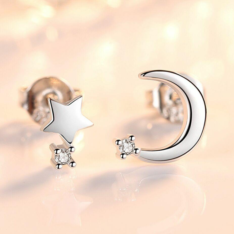 Jewellery - Crystal Moon Star Stud Earrings 925 Sterling Silver Women Girls Jewellery Gift