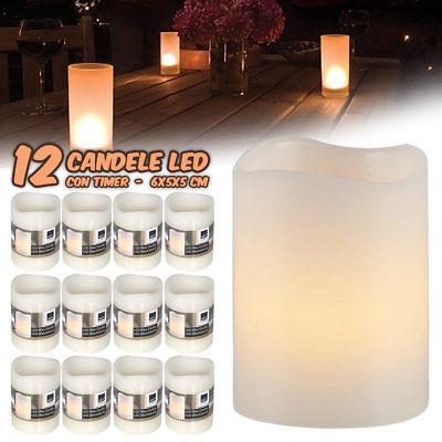 12 CANDELE A LED IN CERA SENZA FIAMMA BIANCO CALDO CON TIMER SET CANDLE EMOTION