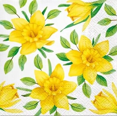 4 Lunch Paper Napkins for Decoupage Party Table Craft Vintage Daffodils in Bloom
