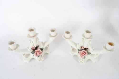 A Pair of Matching Vintage Karl Ens Volkstedt Porcelain Candelabras