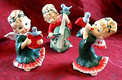 Vintage Lefton CHRISTMAS ANGELS~MUSIC+BIRDS~Harp Cello Instrument Figurine Japan