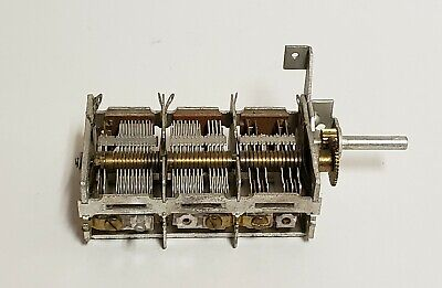 Used Three Section 416pf Air Dielectric Variable Capacitor Gear Driven C242
