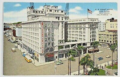 US Grant Hotel & Plaza San Diego CA Vintage Cars Linen Postcard *PC0255