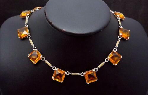 Vintage Art Deco Amber Glass Brass Necklace 25704