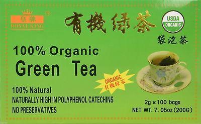 CHINESE Native GREEN TEA USDA CERTIFIED Royal King Brand (100Bag) Per BOX