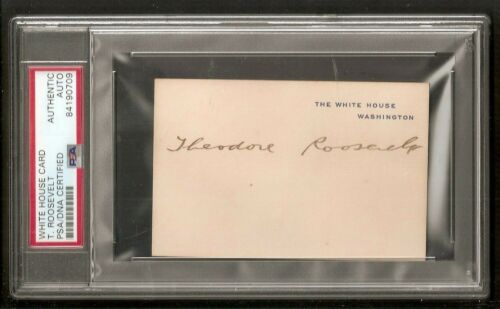 Theodore Teddy Roosevelt President USA WHITE HOUSE Card Signed Auto PSA/DNA