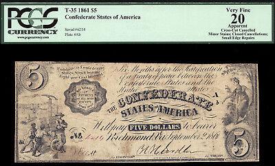 $5 1861 Confederate States of America T 35 PCGS 20A SUPER RARE INDIAN PRINCESS