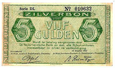 Netherlands ... P-68 ... 5 Gulden ... 1944 ... *XF* ... Serie DL.
