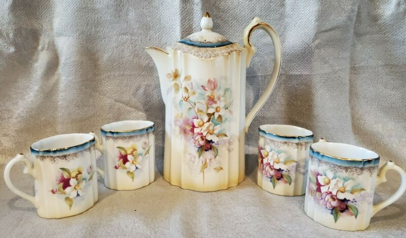 RS Antique Porcelain Chocolate Coffee or Tea 5 Pc Set