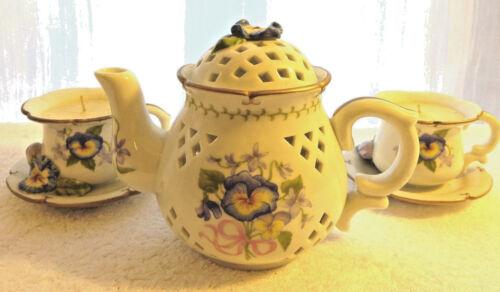 AVON Teapot Tea Time Luminous Treasures Retired Pansies Candle 3 Piece 2003 Set