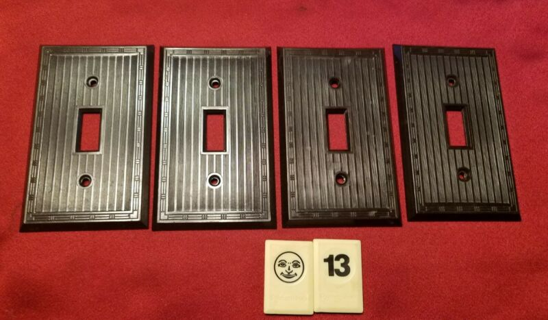 4 Vtg Single Gang SWITCH PLATE BAKELITE BROWN RIBBED COVER DASHED BORDER - BJ13