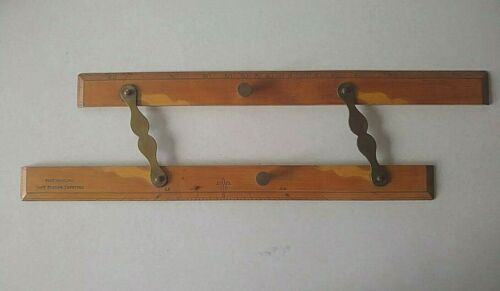 Antique Wood Brass Parallel Ruler Nautical Navigation Tool, Ship Captain Field