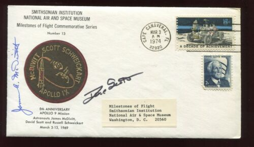 Astronauts Dave Scott & James McDivitt Smithsonian Commem APOLLO 9 ANNIV COVER