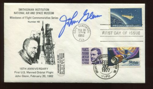 Astronaut JOHN GLENN Signed 15th ANNIVERSARY Smithsonian Commemorative Cover