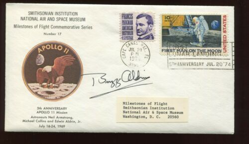 Astronaut BUZZ ALDRIN Signed 5th ANNIV APOLLO 11 Smithsonian Commemorative Cover