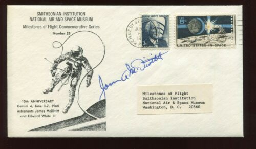 Astronaut James McDivitt Signed 10th ANNIVERSARY Smithsonian Commemorative Cover