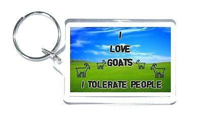 Goat Gift, I Love, I Tolerate, Novelty Keyring Present For Birthday/Christmas ()