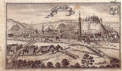 Landshut Gesamtansicht Trausnitz Orig Kupferstich 1700 Niederbayern Stridbeck
