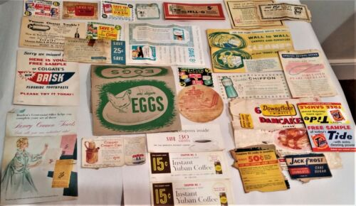 LOT OF 60 VINTAGE GROCERY STORE COUPONS AND ADVERTISING