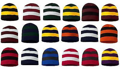 PEACHES PICK SP01 Striped Knit Beanie Hat Rugby Stripes Cap Skull Team Colors Rugby Stripe Beanie