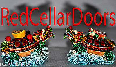 New Pair of Colorful Hand Painted Turtles Feng Shui Stability Long Life Health