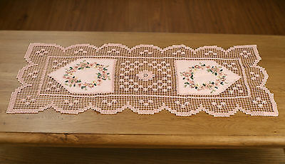 Lace Table Runner Faux Suede with Ribbon Embroidery Home Decor 88cms NEW