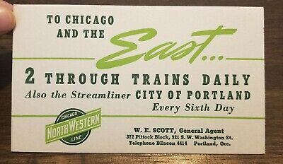 Chicago NorthWestern Line City of Portland Steamliner Vintage Train Ink Blotter