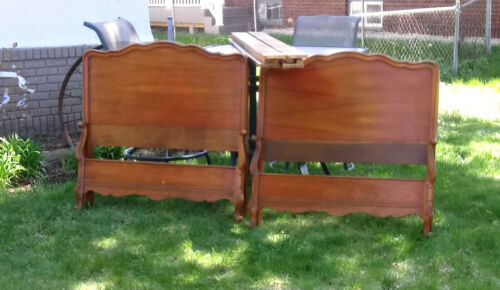 PAIR Vintage Twin French Provincial Solid Cherry Wood Headboards/Footboards