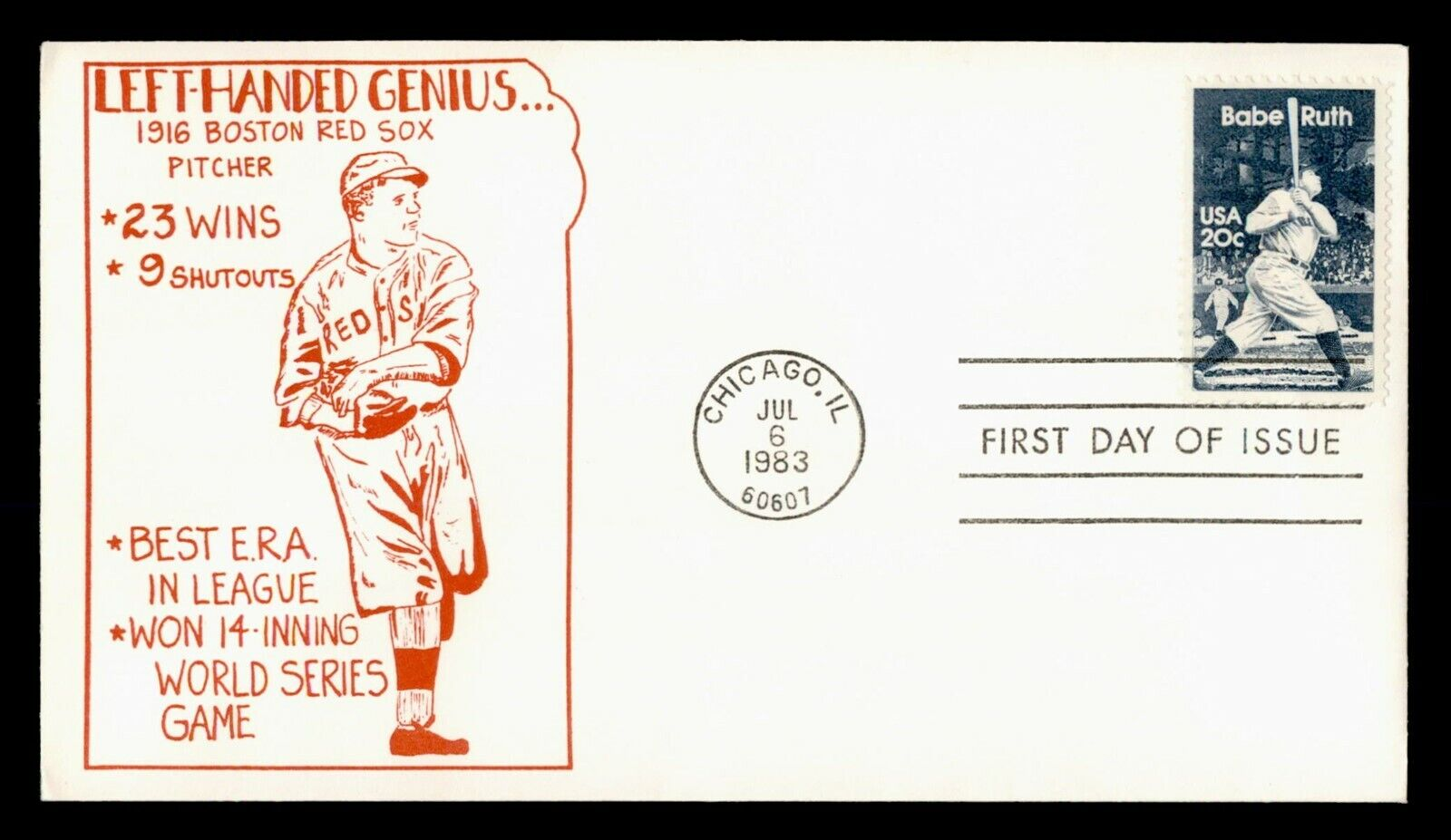 DR WHO 1983 FDC BABE RUTH BASEBALL PLAYER C218649 - $0.50