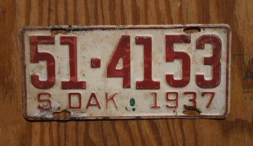 1937 South Dakota License Plate