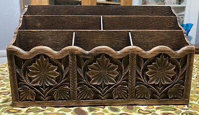 Vintage Lerner Faux Wood Letter Holder Mail Desk Organizer Caddy 180464